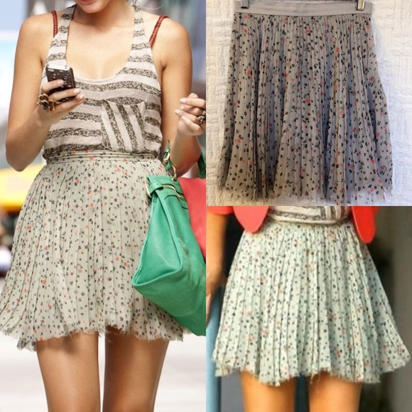 939462515491 Porter Grey Skirts   Iso Silk Chiffon Pleated Mini Skirt   Poshmark